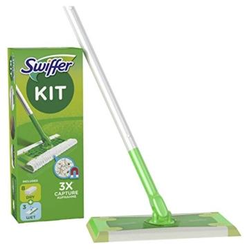 Swiffer Starter Kit Scopa con 1 Manico, 8 Panni Asciutti e 3 Panni Umidi, per Catturare e Intrappolare la Polvere - 1