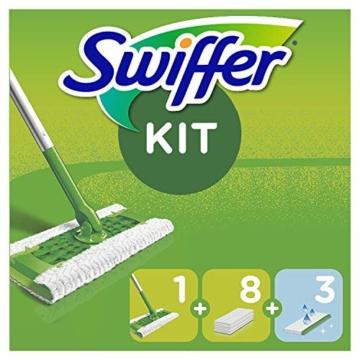 Swiffer Starter Kit Scopa con 1 Manico, 8 Panni Asciutti e 3 Panni Umidi, per Catturare e Intrappolare la Polvere - 5