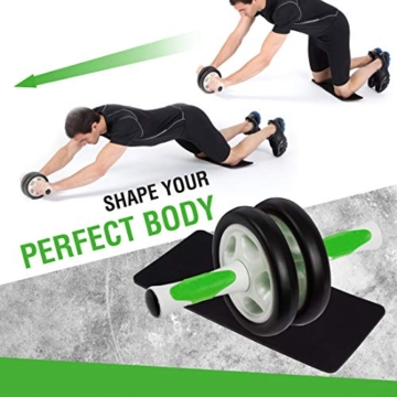Ultrasport Attrezzo per addominali AB Roller / Trainer AB incl. supporto per le ginocchia, allenamento addominali per uomini e donne, anche per persone anziane, trainer muscolare pieghevole - 5