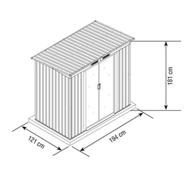 VERDELOOK Maisonette, Casetta in Metallo Box da Giardino a Una Falda, 194x121 Altezza 181 cm - 2