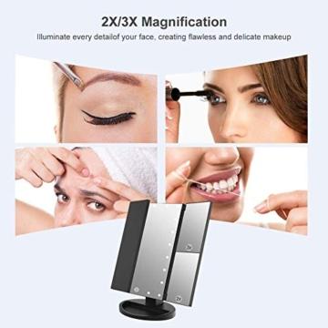 WEILY Specchio cosmetico per Trucco con 21 luci a LED, specchi Cosmetici Illuminati a LED a Doppia Alimentazione con ingrandimento Triplo (Nero) - 2