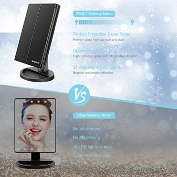 WEILY Specchio cosmetico per Trucco con 21 luci a LED, specchi Cosmetici Illuminati a LED a Doppia Alimentazione con ingrandimento Triplo (Nero) - 5