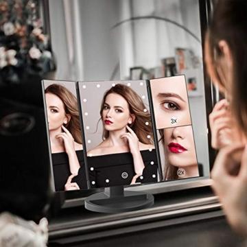 WEILY Specchio cosmetico per Trucco con 21 luci a LED, specchi Cosmetici Illuminati a LED a Doppia Alimentazione con ingrandimento Triplo (Nero) - 7