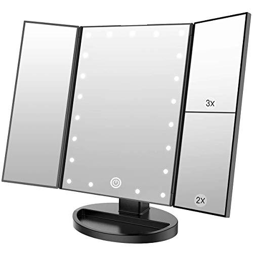 WEILY Specchio cosmetico per Trucco con 21 luci a LED, specchi Cosmetici Illuminati a LED a Doppia Alimentazione con ingrandimento Triplo (Nero) - 1