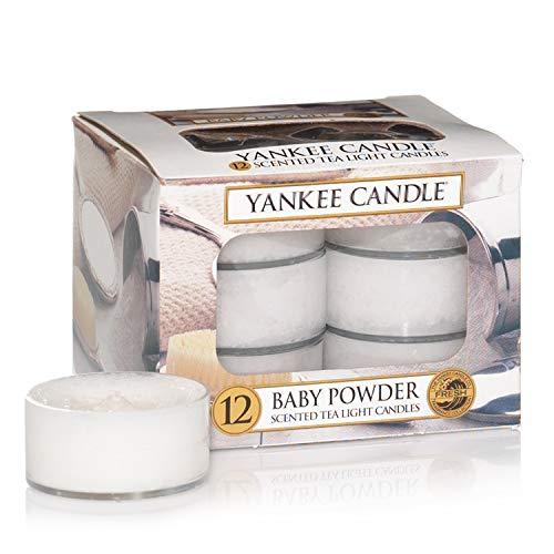 Yankee candle Tea Light Candele Profumate 12 Pezzi Baby Powder, Cera, Bianco, 2.1x6x5.8 cm - 1
