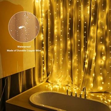 300 luci per tende a LED, 3 x 3 m con luce gialla calda, 8 modalità, impermeabile IP44 per interni ed esterni, stanza parziale, festa di matrimonio, gazebo da giardino, decorazioni natalizie - 2