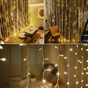 300 luci per tende a LED, 3 x 3 m con luce gialla calda, 8 modalità, impermeabile IP44 per interni ed esterni, stanza parziale, festa di matrimonio, gazebo da giardino, decorazioni natalizie - 4