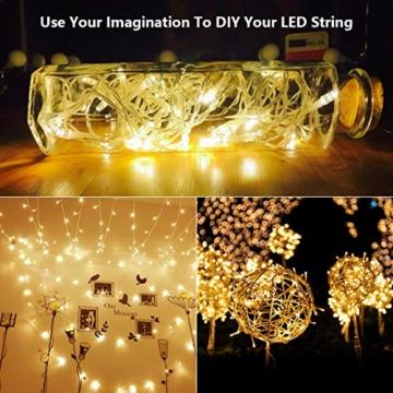 300 luci per tende a LED, 3 x 3 m con luce gialla calda, 8 modalità, impermeabile IP44 per interni ed esterni, stanza parziale, festa di matrimonio, gazebo da giardino, decorazioni natalizie - 5