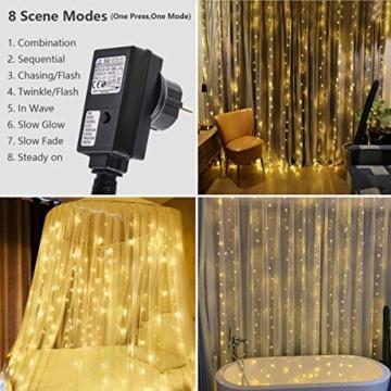 300 luci per tende a LED, 3 x 3 m con luce gialla calda, 8 modalità, impermeabile IP44 per interni ed esterni, stanza parziale, festa di matrimonio, gazebo da giardino, decorazioni natalizie - 6