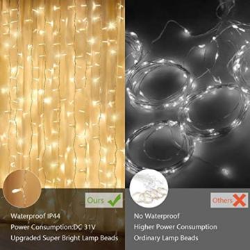 300 luci per tende a LED, 3 x 3 m con luce gialla calda, 8 modalità, impermeabile IP44 per interni ed esterni, stanza parziale, festa di matrimonio, gazebo da giardino, decorazioni natalizie - 8