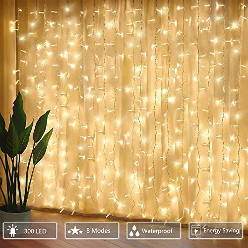 300 luci per tende a LED, 3 x 3 m con luce gialla calda, 8 modalità, impermeabile IP44 per interni ed esterni, stanza parziale, festa di matrimonio, gazebo da giardino, decorazioni natalizie - 1