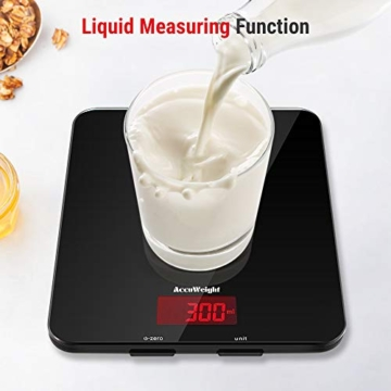 ACCUWEIGHT Bilancia Digitale da Cucina Elettronica Bilance Alimenti Multifunzionale con Display LCD per Pesa Cibo, 5 kg / 11 lbs, Superficie in Vetro Temperato, Nero - 2