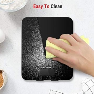 ACCUWEIGHT Bilancia Digitale da Cucina Elettronica Bilance Alimenti Multifunzionale con Display LCD per Pesa Cibo, 5 kg / 11 lbs, Superficie in Vetro Temperato, Nero - 4