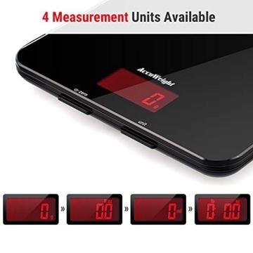 ACCUWEIGHT Bilancia Digitale da Cucina Elettronica Bilance Alimenti Multifunzionale con Display LCD per Pesa Cibo, 5 kg / 11 lbs, Superficie in Vetro Temperato, Nero - 5