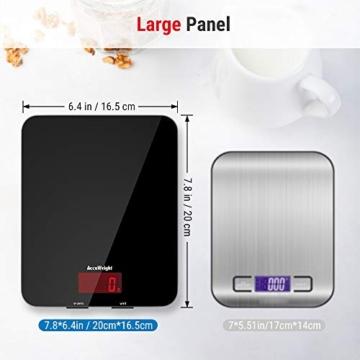 ACCUWEIGHT Bilancia Digitale da Cucina Elettronica Bilance Alimenti Multifunzionale con Display LCD per Pesa Cibo, 5 kg / 11 lbs, Superficie in Vetro Temperato, Nero - 6