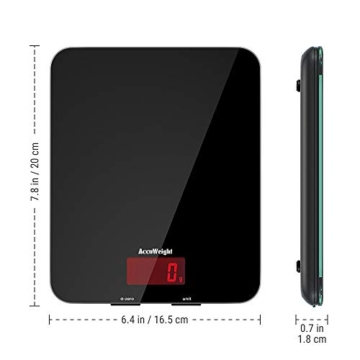 ACCUWEIGHT Bilancia Digitale da Cucina Elettronica Bilance Alimenti Multifunzionale con Display LCD per Pesa Cibo, 5 kg / 11 lbs, Superficie in Vetro Temperato, Nero - 8