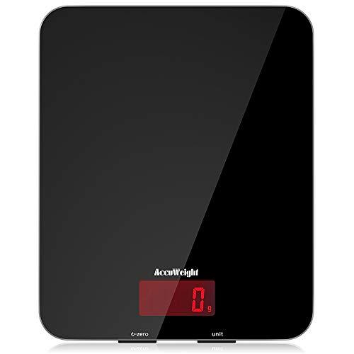 ACCUWEIGHT Bilancia Digitale da Cucina Elettronica Bilance Alimenti Multifunzionale con Display LCD per Pesa Cibo, 5 kg / 11 lbs, Superficie in Vetro Temperato, Nero - 1