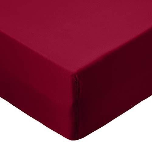 AmazonBasics - Lenzuolo con angoli in microfibra, 90x190x30cm, Bordeaux - 1