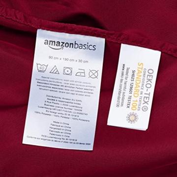 AmazonBasics - Lenzuolo con angoli in microfibra, 90x190x30cm, Bordeaux - 5