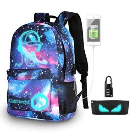 Anime di moda zaino, Ragazze di moda zaino luminoso Scuola Borsa Galaxy modello Daypack Antifurto Viaggio grande capacità Backpack per Bambini Giovani Uomini Donne con Porta di Ricarica USB e Lock - 1