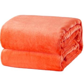 Bedsure Coperta Plaid di Pile Arancione 130x150 cm Letto Singolo - Plaid da Divano Coperte Super Morbido - 1
