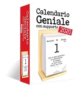 Calendario Geniale 2020 con Supporto. Leggi le frasi filosofiche con il comodo supporto in legno di Abete naturale - 1