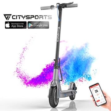 """CITYSPORTS Monopattino Scooter elettrico 8.5 """", scooter pieghevole con APP e Bluetooth, batteria a lunga durata da 7,5 Ah, 350 W, scooter elettrico per adulti ultraleggero - 1"""