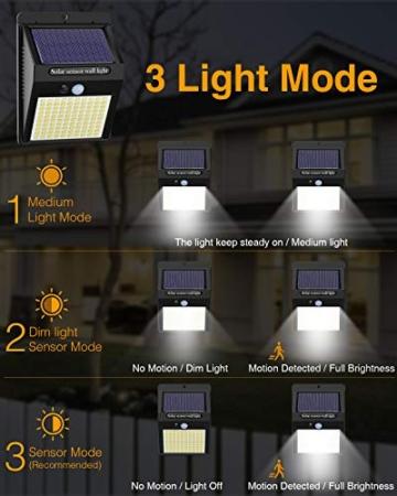【6 Pezzi】Luce Solare Led Esterno,Hepside Faretti Solari a 100 LED da Esterno con Sensore di Movimento 180°,IP65 Impermeabile,3 Modalità Lampada Solare da Esterno per Giardino,Parete - 2