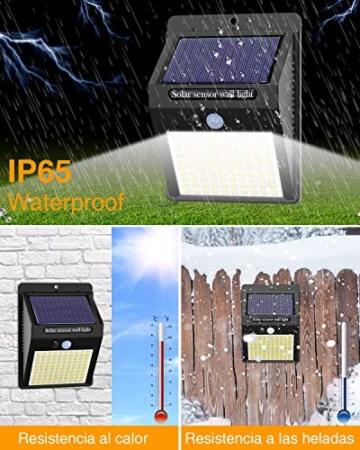 【6 Pezzi】Luce Solare Led Esterno,Hepside Faretti Solari a 100 LED da Esterno con Sensore di Movimento 180°,IP65 Impermeabile,3 Modalità Lampada Solare da Esterno per Giardino,Parete - 3