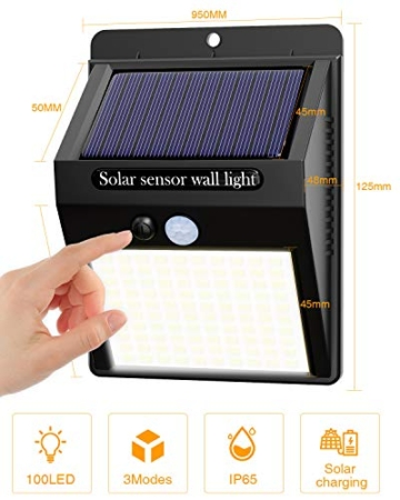 【6 Pezzi】Luce Solare Led Esterno,Hepside Faretti Solari a 100 LED da Esterno con Sensore di Movimento 180°,IP65 Impermeabile,3 Modalità Lampada Solare da Esterno per Giardino,Parete - 4