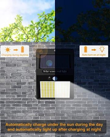 【6 Pezzi】Luce Solare Led Esterno,Hepside Faretti Solari a 100 LED da Esterno con Sensore di Movimento 180°,IP65 Impermeabile,3 Modalità Lampada Solare da Esterno per Giardino,Parete - 5