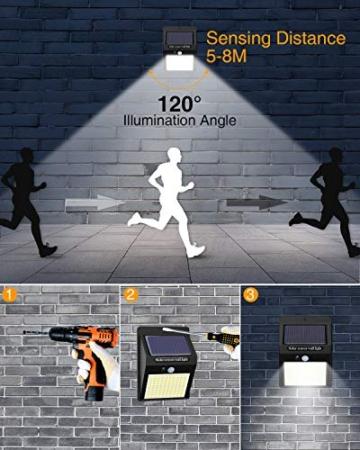 【6 Pezzi】Luce Solare Led Esterno,Hepside Faretti Solari a 100 LED da Esterno con Sensore di Movimento 180°,IP65 Impermeabile,3 Modalità Lampada Solare da Esterno per Giardino,Parete - 6