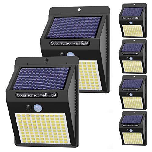 【6 Pezzi】Luce Solare Led Esterno,Hepside Faretti Solari a 100 LED da Esterno con Sensore di Movimento 180°,IP65 Impermeabile,3 Modalità Lampada Solare da Esterno per Giardino,Parete - 1