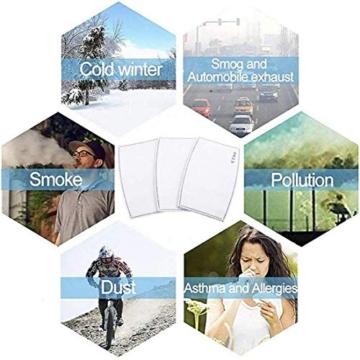 Gecter 50Pcs Filtro a Carbone Attivo PM2,5, 5 Strati sostituibili Anti-Appannamento,Filtro Protettivo per Bocca per Esterni - 6