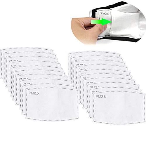 Gecter 50Pcs Filtro a Carbone Attivo PM2,5, 5 Strati sostituibili Anti-Appannamento,Filtro Protettivo per Bocca per Esterni - 1