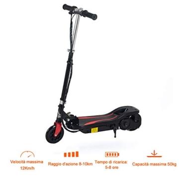 homcom Monopattino Elettrico Pieghevole Altezza Regolabile 82-93cm, con Freno 12km/h, in Metallo plastica, Nero - 3