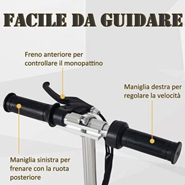 homcom Monopattino Elettrico Pieghevole Altezza Regolabile 82-93cm, con Freno 12km/h, in Metallo plastica, Nero - 4