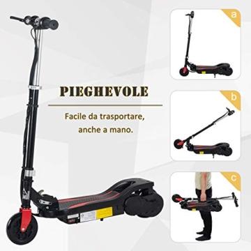 homcom Monopattino Elettrico Pieghevole Altezza Regolabile 82-93cm, con Freno 12km/h, in Metallo plastica, Nero - 8