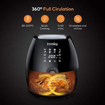 Innsky 5.5L Friggitrice ad aria calda 8 Funzioni Preimpostate + Funzione di Pausa/Riavvio ricettario plurilingue, Friggitrici senza olio, fornetto 1700W, Spegnimento Automatico senza BPA, PFOA - 3
