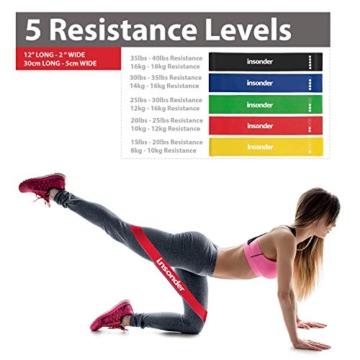 Insonder Elastiche Fitness Set di 5 Banda Elastica Fasce Resistenza per Fitness Yoga Crossfit - 4