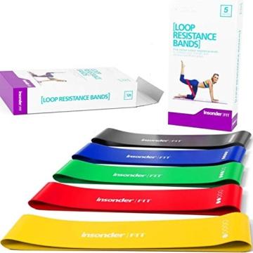 Insonder Elastiche Fitness Set di 5 Banda Elastica Fasce Resistenza per Fitness Yoga Crossfit - 1
