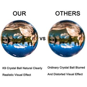 IZSUZEE K9 Sfera di Cristallo 100mm, Trasparente Lensball Palla di Vetro con Supporto, Fotografia Accessori Soprammobili Natalizi Decorazioni per La Casa, Lens Ball per Meditazione e Guarigione - 2