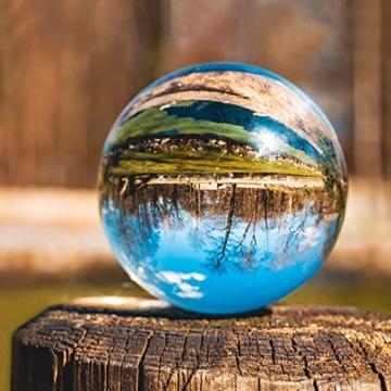 IZSUZEE K9 Sfera di Cristallo 100mm, Trasparente Lensball Palla di Vetro con Supporto, Fotografia Accessori Soprammobili Natalizi Decorazioni per La Casa, Lens Ball per Meditazione e Guarigione - 3