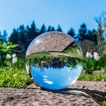 IZSUZEE K9 Sfera di Cristallo 100mm, Trasparente Lensball Palla di Vetro con Supporto, Fotografia Accessori Soprammobili Natalizi Decorazioni per La Casa, Lens Ball per Meditazione e Guarigione - 4