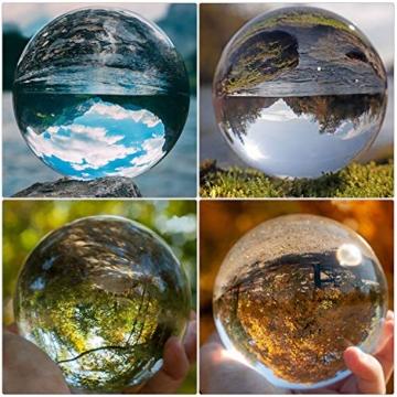 IZSUZEE K9 Sfera di Cristallo 100mm, Trasparente Lensball Palla di Vetro con Supporto, Fotografia Accessori Soprammobili Natalizi Decorazioni per La Casa, Lens Ball per Meditazione e Guarigione - 5