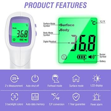 KARAEASY 4 In 1 Termometro Infrarossi Termometro Digitale Allarme Temperatura Elevata Multifunzione - 4