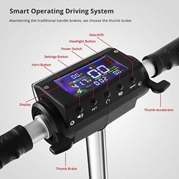 Kugoo S1, Monopattino elettrico pieghevole, 350 W, con schermo LCD, 3 modalità di velocità, max 30 km/h, Nero - 3