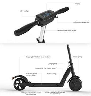 Kugoo S1, Monopattino elettrico pieghevole, 350 W, con schermo LCD, 3 modalità di velocità, max 30 km/h, Nero - 8