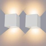 LEDMO 2 * 12W Lampada da Parete per Interni/Esterno LED Moderno, Applique da Parete Muro in Alluminio Angolo,Lampada da parete su e Giù Regolabile Design IP65 Impermeabile 3000K Bianco Caldo - 1