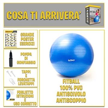 LETWY Palla Fitness | 65cm Blu | Nuova Versione 2020 con Poster Esercizi-Ginnastica, Fitball Fit Balls, Gymball Pilates, Yoga, Gravidanza, Attrezzi Palestra Casa - 2